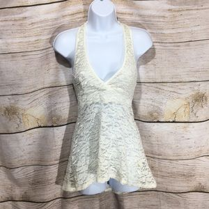 You Are Not Alone cream lace raser back tank Small